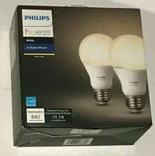 Philips Hue White A19 2-Pack 60W Equivalent Dimmable LED Smart Bulbs