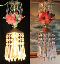 Red Hibiscus chandelier Swag vintage lamp Porcelain Brass Capodimonte Rose beads