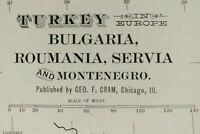 "Vintage 1900 TURKEY BULGARIA ROMANIA SERBIA Map 14""x22"" ~ Old Antique Original"
