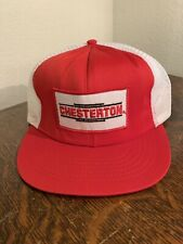 Vintage Chesterton Red And White Hat Snapback Trucker Cap  USA - Patch