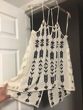 Free People XS Fit L XL Blue White Embroidered Open Back Hippie Tunic Top
