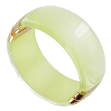 Clamp Bangle Bracelet Big Chunky Green Pearlized Lucite Gold Tone
