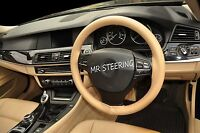 FOR BMW 5 SERIES F10 F11 2010+ BEIGE LEATHER STEERING WHEEL COVER RED STITCHING