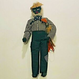 Vintage Handmade African American Male Cloth Doll w/ Rooster