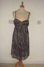 01 Marks & Spencer M & S Grey & Black Chiffon Animal Print Dress Size 14