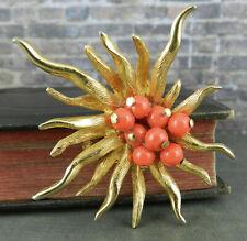 Vintage Benedikt NY Signed Costume Gold Tone & Coral Starburst Pin / Brooch