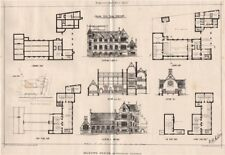 Building News school competition. Selected design by Frederick Sampson 1873