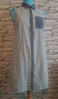 Tommy Hilfiger Blue sleeveless Shirt dress Size M 10/12 uk pockets