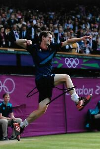 andy murray gold celebrating winning the 2012 london olympics signed 12x8 photo