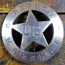 Deputy US Marshal 5 Point Star in Circle Silverplated Pinback Old West Badge