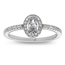 Cz Oval Cut Wedding Solitaire Ring 925 Sterling Silver Engagement Ring With
