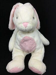 "Bunny Rabbit White Pink Belly Quizzies Bun Easter Aurora Baby Girl Plush 15"""
