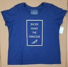 NWT Women's Plus Size 4X Disney Store Navy Blue T-Shirt Shoes Make the Princess