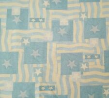 Blue Beige Flag Print BTY Warren Kimble for Quilting Treasures Stars