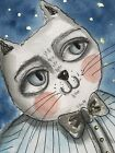 Watercolor ACEO original art painting Lovely Elika-Blue Cat Animal Pet Aceo