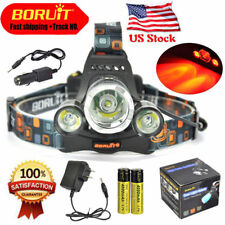 BORUiT 11000LM XM-L T6 R5 Red 3 LED Hunting Headlamp Flashlight 18650 Charger US