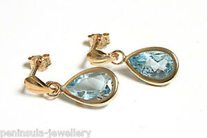 9ct Gold Blue Topaz Teardrop Earrings Gift Boxed Made in UK Birthday Gift