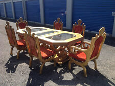 Gold leaf glass top dining table and chairs