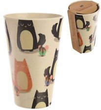 BAMBOO ECO FRIENDLY BIO DEGRADABLE CUTE CAT DESIGN DRINKS CUP