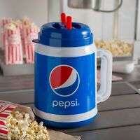 NEW Pepsi Tanker Mug with Spout, Straw, Lid 64 oz Soda Glass Pop Cup for Movies