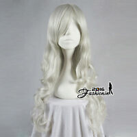 70cm Silver White Color Long Curly Stylish Women Anime Synthetic Cosplay Wig