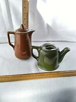 2 Hall Mini Avocado Green & Taller Brown Pottery Restaurant Ware Lidded Teapots