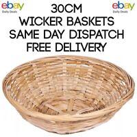 Vintage Round Natural Bamboo Wicker Bread Basket Storage Hamper Trays Gift Fruit