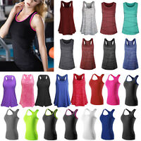 Women's Tank Top Sleeveless A-Shirt Workout Gym Running Yoga Racer Workout Vests