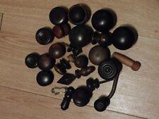 Job Lot Victorian Ebony Mahogany Hardwood Knobs Handles Finials Acorn Brass Key