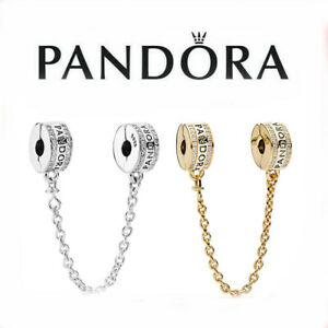 Pandora Sparkling Logo Bracelet Safety Chain Clip Charm