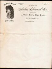 c1900 Ladies Arthur's Floral Hair Tonic - F S Edminster - New York Letter Head