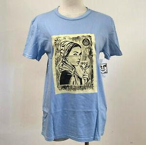 Obey Women's T-Shirt Etching Offset Light Blue Size L NWT Shepard Fairey