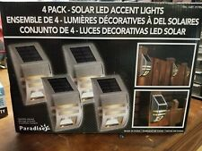 Paradise 4 Pack Solar Powered LED Accent/Security Light Black