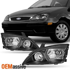 Fit 2005 2006 2007 Ford Focus Left + Right Side Black Headlights Assembly Set
