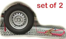 Trailer Car Transporter Recovery Ratchet Straps Alloy Wheel - Set of 2
