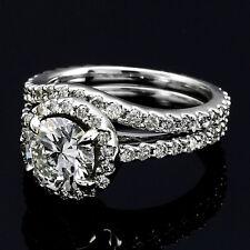 2.77 CT REAL ROUND CUT DIAMOND HALO ENGAGEMENT RING 14K SET