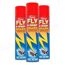 3 x Sanmex Fly & Wasp Killer Spray 300ml Household Insectide Power Pest Control
