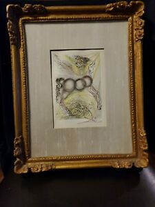 Salvador Dali Original Signed Etching  PEGASUS Surreal Mythology Art Framed