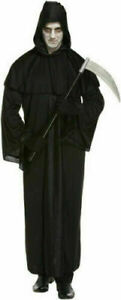 Adult Mens Grim Reaper Halloween Fancy Dress Costume Death Black Robe