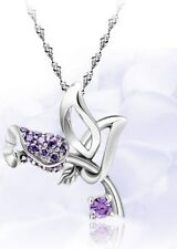 Sterling Silver Purple Rose Amethyst Flower Pendant Chain Necklace Love Gift L22