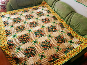 Quilted blanket. Patchwork bedspread. Pineapple decor. Russian quilt. Sunflower