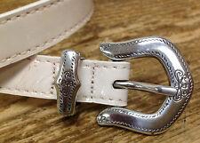 Brighton White Patent Leather Belt 32-B31402 Cream Silver Metal Wear 1996 Vintag