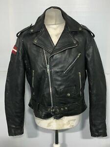 VINTAGE 80'S DISTRESSED LEATHER BRANDO MOTORCYCLE JACKET SIZE L