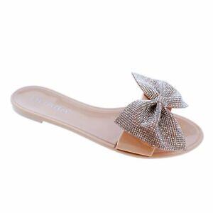 NEW Liliana Jelli-67 Nude Rhinestone Bow Jelly Slide Sandal