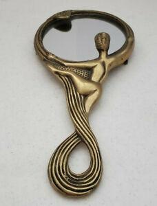 VINTAGE ART NOUVEAU DECO BRASS HAND MIRROR WITH NUDE WOMAN LOOKING INTO MIRROR 1