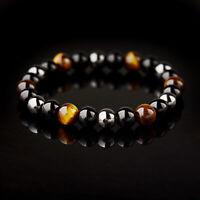 Fashion Men Tiger Eye Matte Onyx Mala Stone Yoga Beaded Couples Bracelets Gift