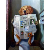 5D DIY Full Drill Diamond Painting Dog Reading Newspaper Cross Stitch Kits Decor