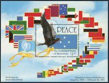 Micronesia 142a, MNH. Mi Bl.9. Operation Desert Storm, 1991. Frigate-bird, Flag.