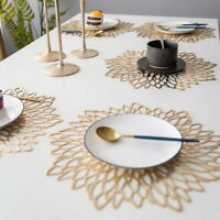 Floral Hollowed-out Table Placemat Non-slip Heat Insulation Mats Dinner Decor US
