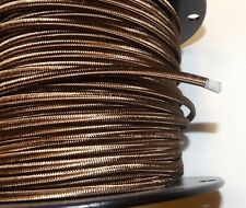 BROWN PARALLEL RAYON COVERED LAMP CORD 2 WIRE ANTIQUE VINTAGE STYLE 30272K